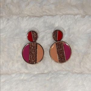 francesca's peach gold and purple funky earrings